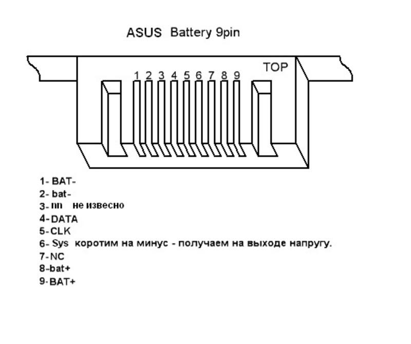 Схема распиновки батареи a32 на 9pin для лэптопов Asus